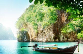 Boats Thailand Sea Crag Nature Wallpaper 1600x1280 340x220