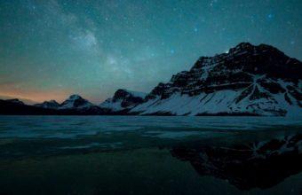 Landscape Mountain Winter Stars Sky Night Wallpaper 1600x1280 340x220
