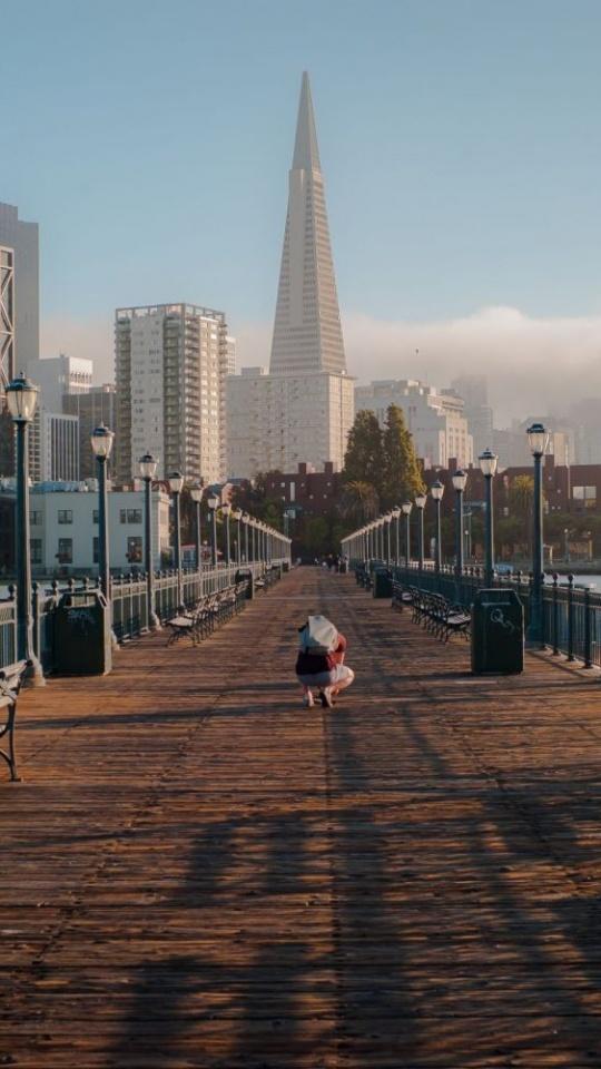 Bay Bench Boardwalk Bridge Buildings City 540x960