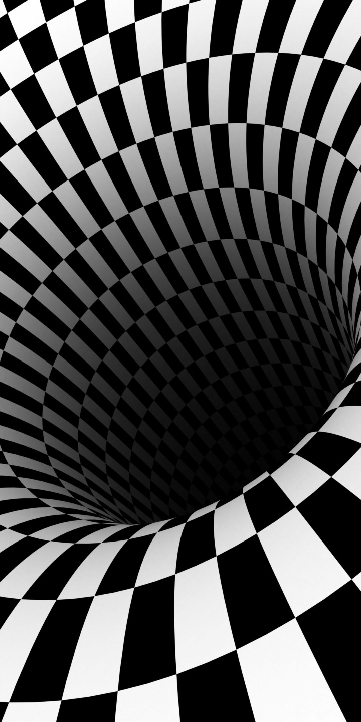 Black Hole Checkered Vortex Optical Illusions 720x1440