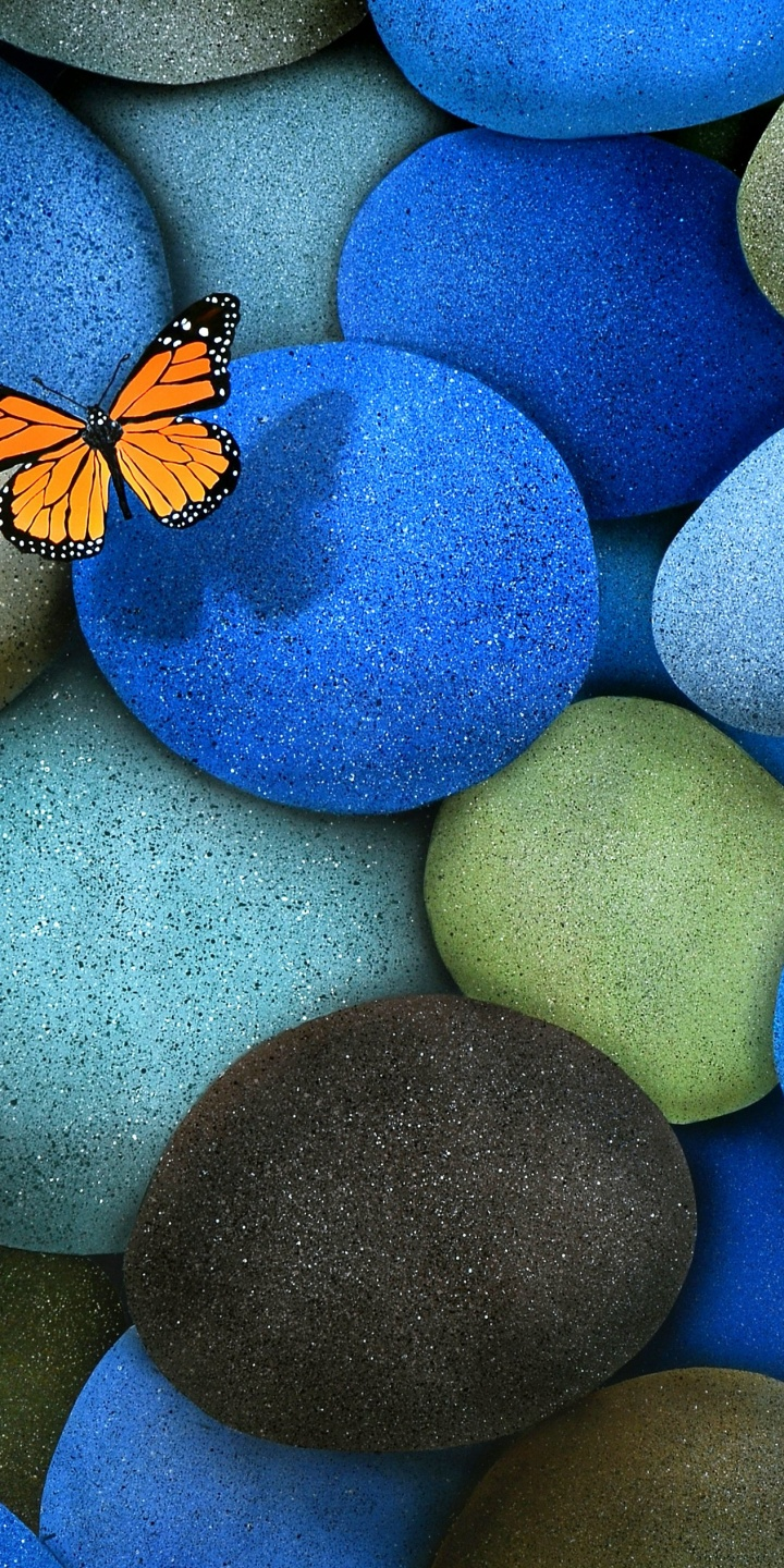 Blue Brown Butterfly Stones 720x1440