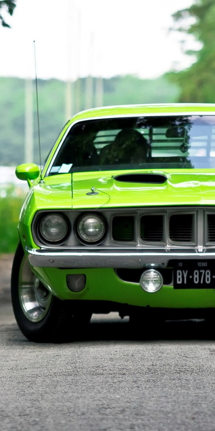 Cars Vehicles Barracuda Green Cuda 720x1440