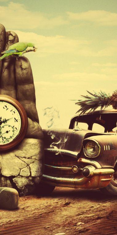 Creative 3d Art Surreal Time Chevrolet Retro G 720x1440 380x760