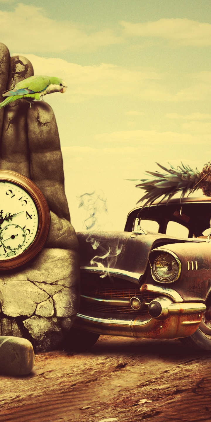Creative 3d Art Surreal Time Chevrolet Retro G 720x1440