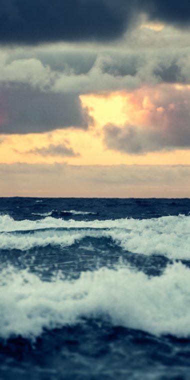 Horizon Waves Sunset Troubled Sea Waves 720x1440 380x760