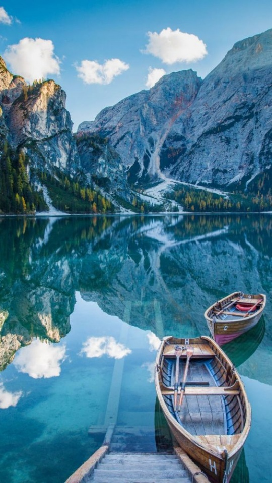 Lake Deck Boat Mountains Mirror Reflection 540x960