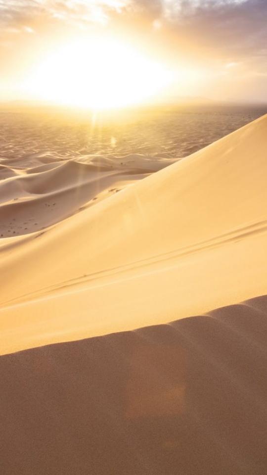 Morocco Desert Sand Dunes Sun Clouds 540x960