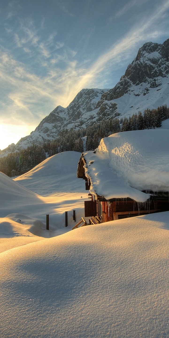 Seasons Winter Austria Mountains 720x1440