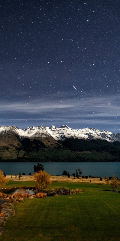 Snow Night Stars Fields New Zealand Lakes 720x1440