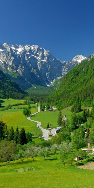 Spring Alpine Valley Mountains Fields Landscape 720x1440 380x760