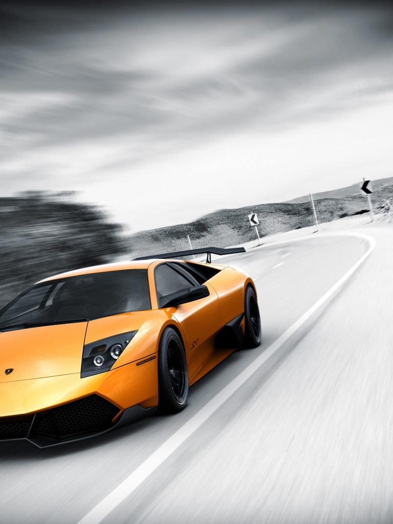 Cars Lamborghini Selective Coloring Wallpaper 1536x2048 768x1024