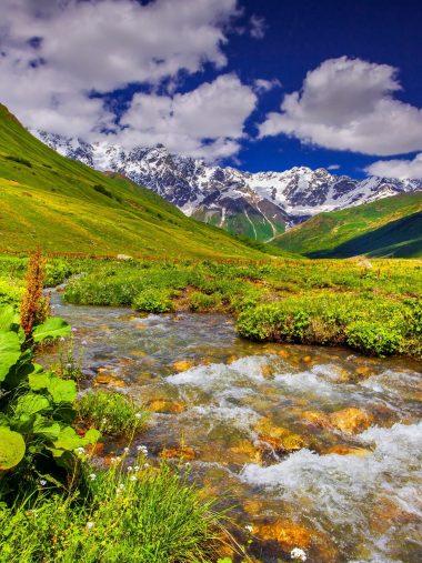Scenery Mountains Stream Grass Wallpaper 1536x2048 380x507