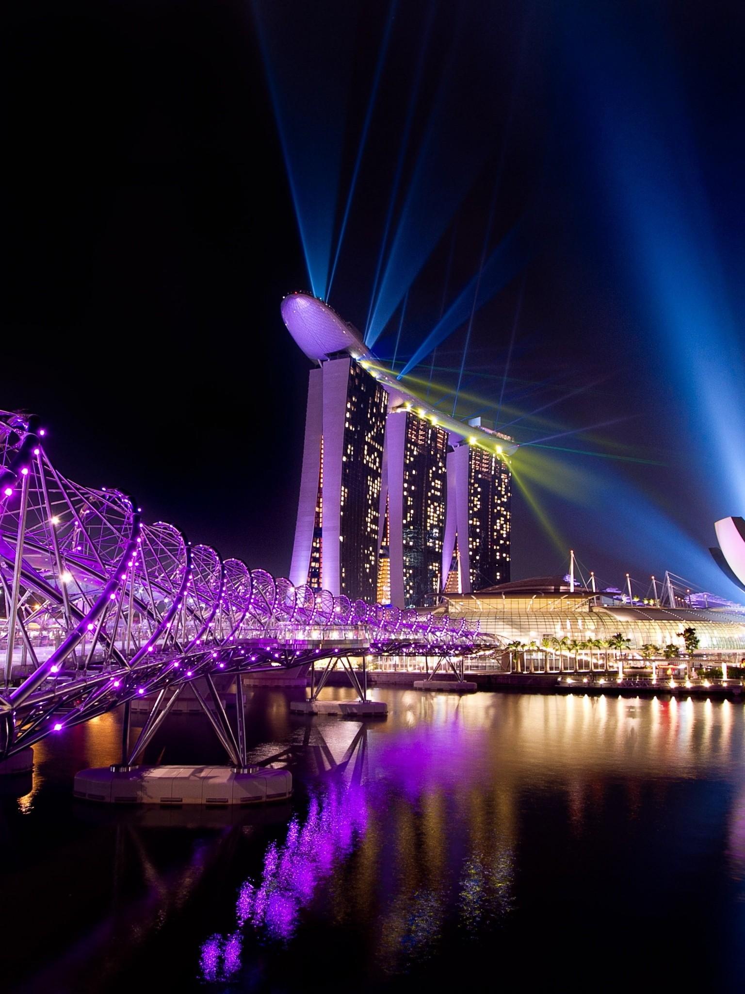 Singapore City Night Lights Wallpaper 1536x2048