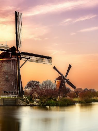 Sunset River Holland Windmill Wallpaper 1536x2048 380x507