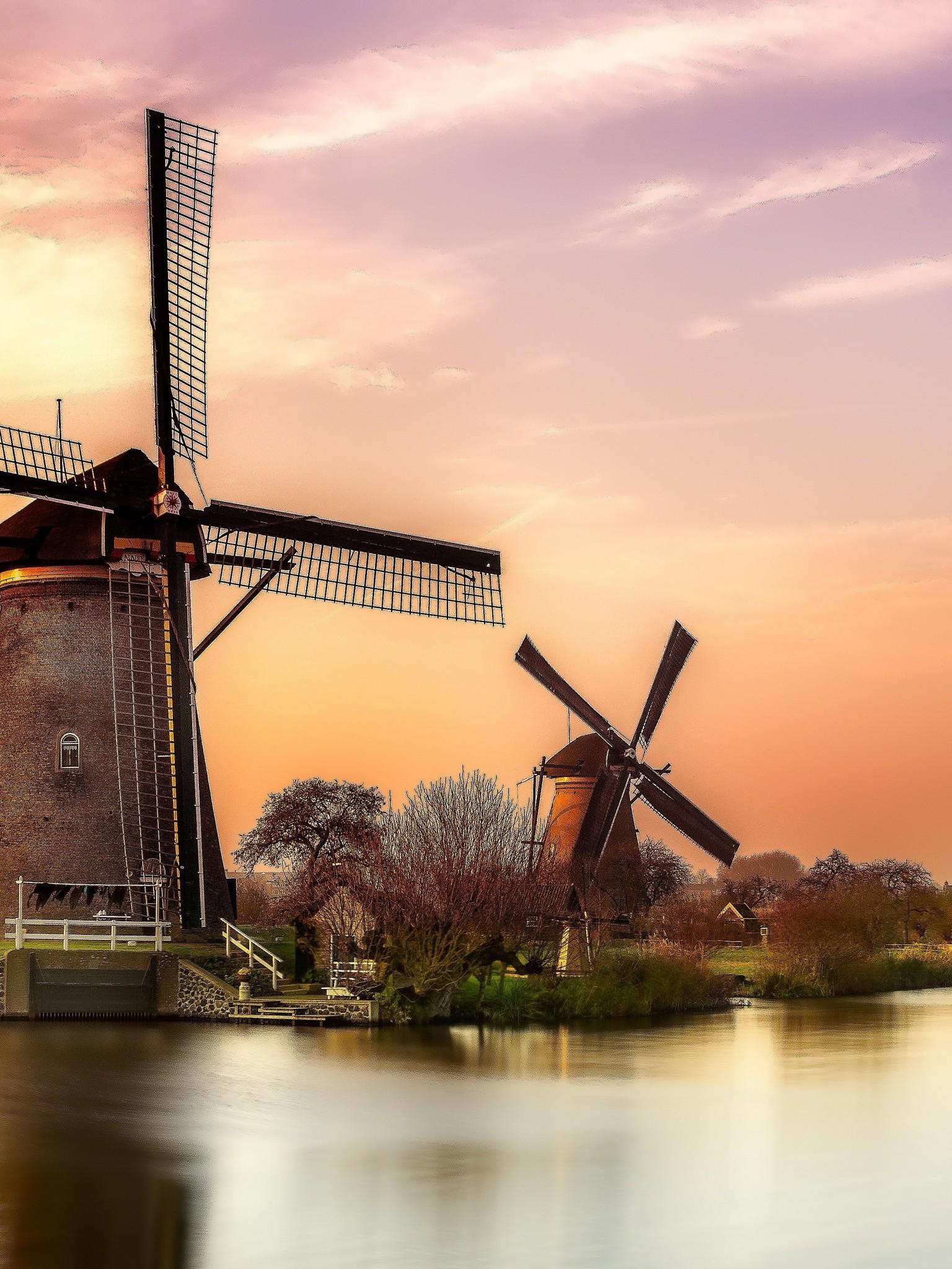 Sunset River Holland Windmill Wallpaper - 1536x2048