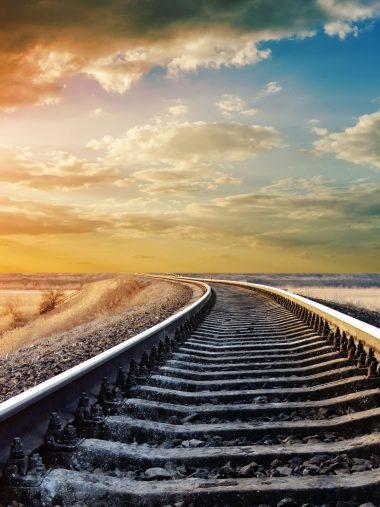 Sunset Winter Railway Wallpaper 1536x2048 380x507