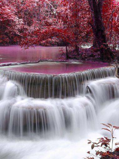 Waterfall River Flow Autumn Wallpaper 1536x2048 380x507