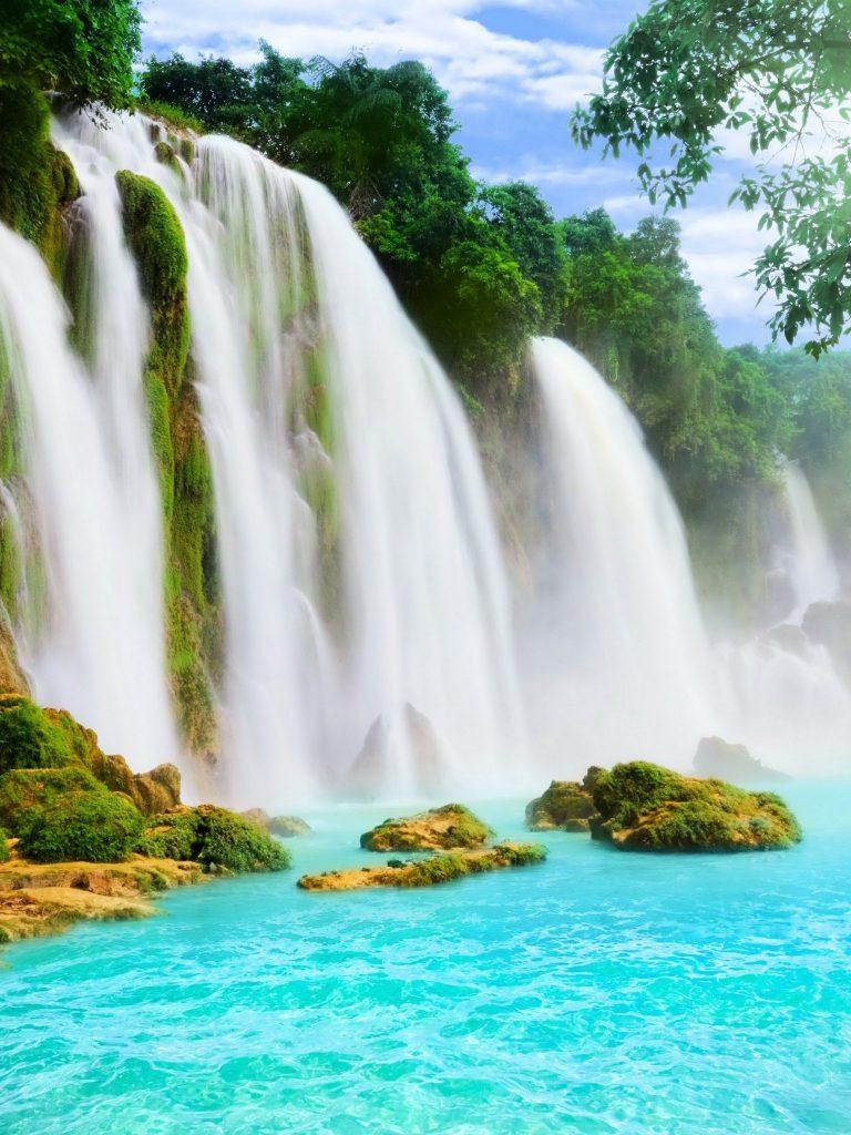 Waterfalls River Nature Wallpaper 1536x2048 768x1024