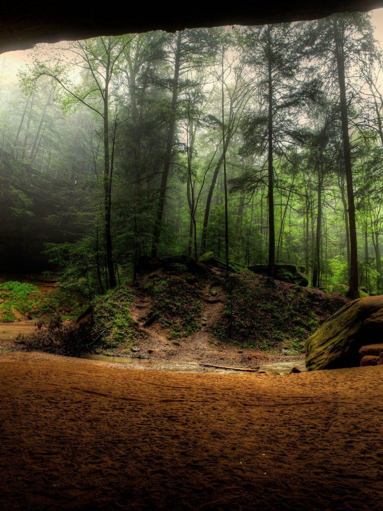 Waterfalls Usa Crag Trees Hocking Wallpaper 1536x2048 768x1024
