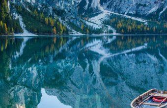 Lake Deck Boat Mountains Mirror 1440x2880 340x220