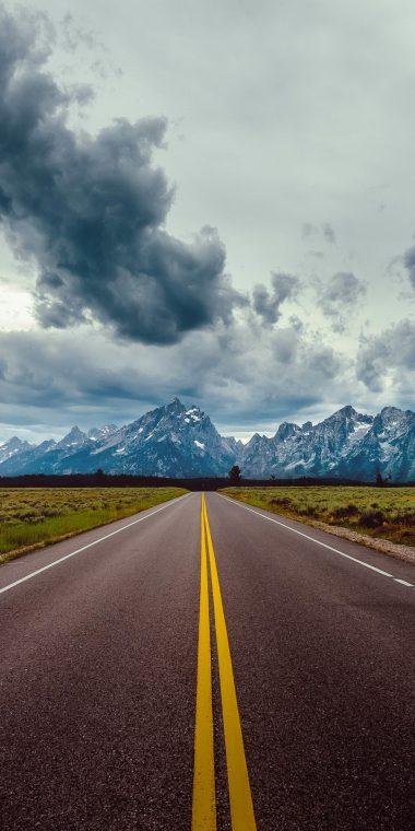Road Field Horizon Mountains 1440x2880 380x760
