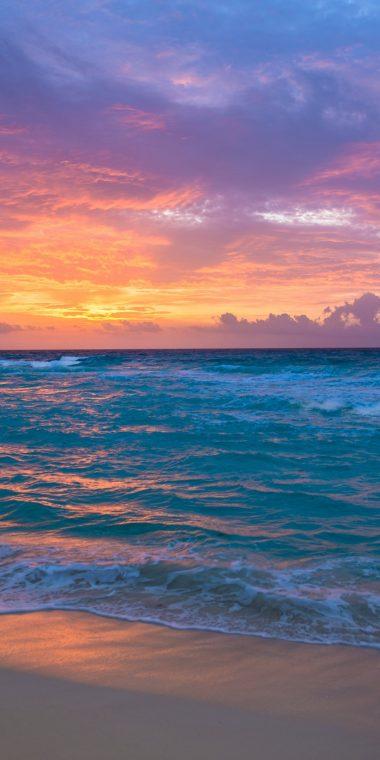 Sea Surf Sunrise Waves Sand Ocean 1440x2880 380x760