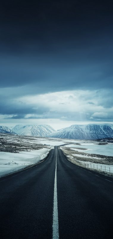 Winter Road Wallpaper 1080x2280 380x802