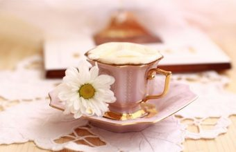 A Cup Of Coffee And A Flower Wallpaper 800x480 340x220