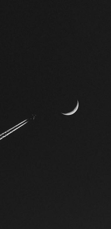Airplane Moon Minimalism Wallpaper 720x1480 380x781