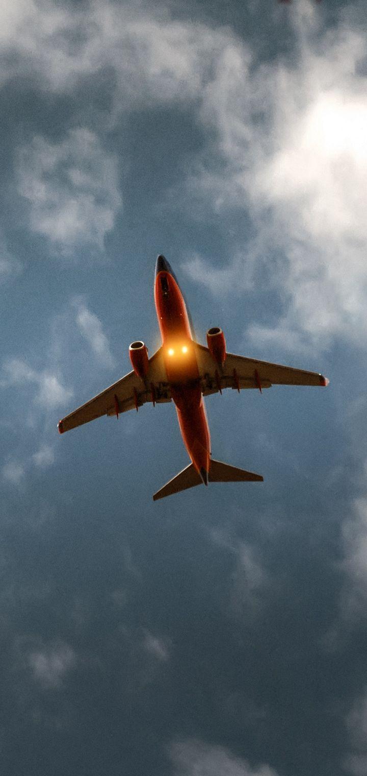 Airplane Sky Clouds Flight Wallpaper 720x1520