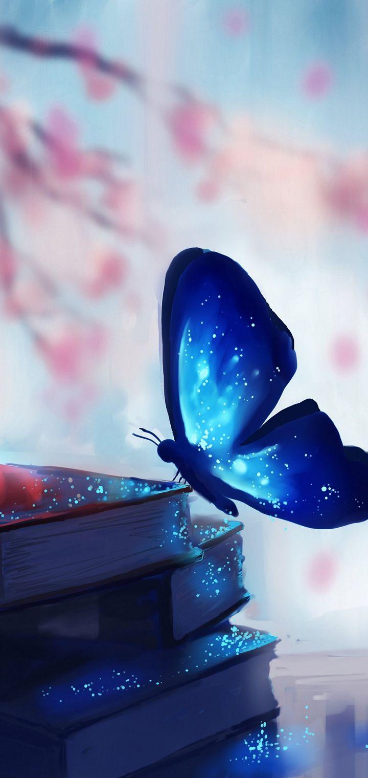 Art Chibionpu Butterfly Books Wallpaper 720x1520
