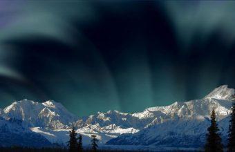 Aurora Borealis And Snowy Mountains Wallpaper 800x480 340x220