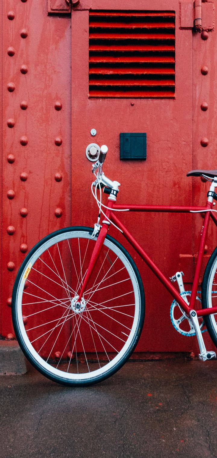 Bicycle Red Wall Wallpaper 720x1520