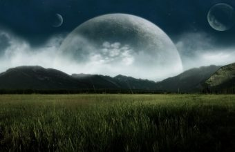 Big Planets Over The Field Wallpaper 800x480 340x220