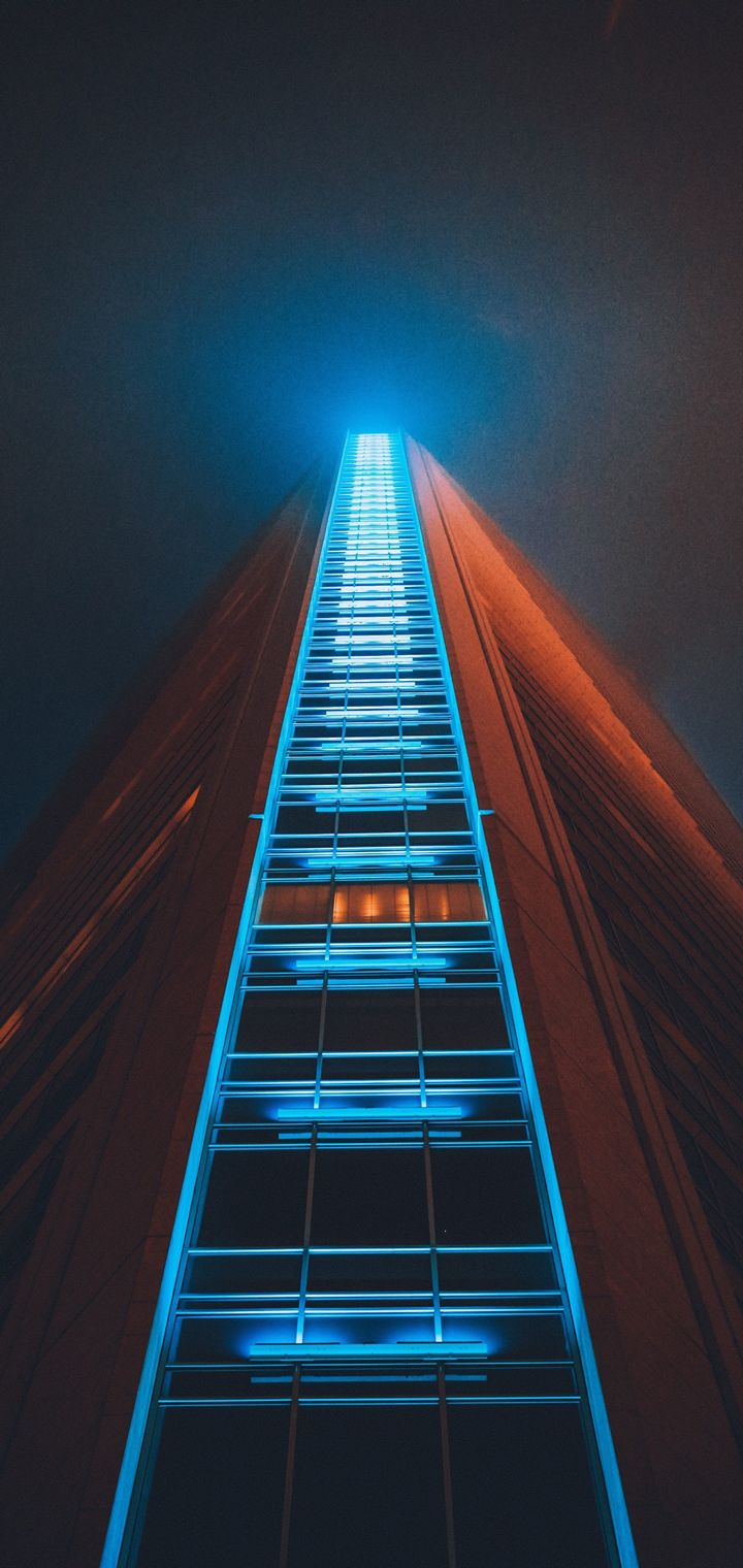 Building Skyscraper Structure Night Wallpaper 720x1520