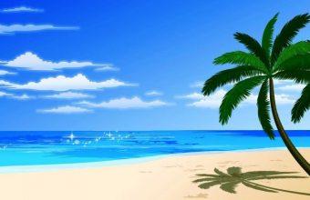 Cartoon Beach And Palm Wallpaper 800x480 340x220