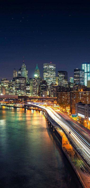 City Night Raod Wallpaper 1080x2248 380x791