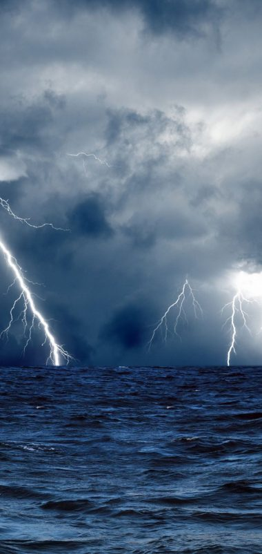 Clouds Waves Sea Storm Lightning Wallpaper 720x1520 380x802