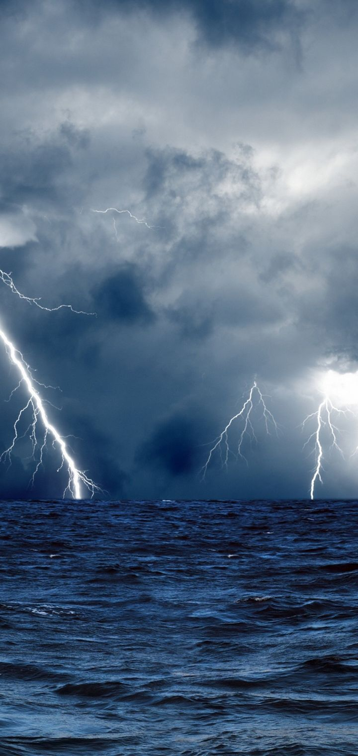 Clouds Waves Sea Storm Lightning Wallpaper 720x1520