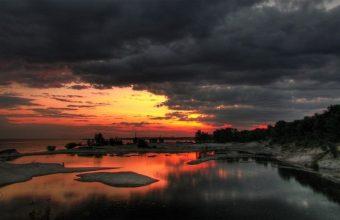 Cloudy Sunset Reflection Wallpaper 800x480 340x220