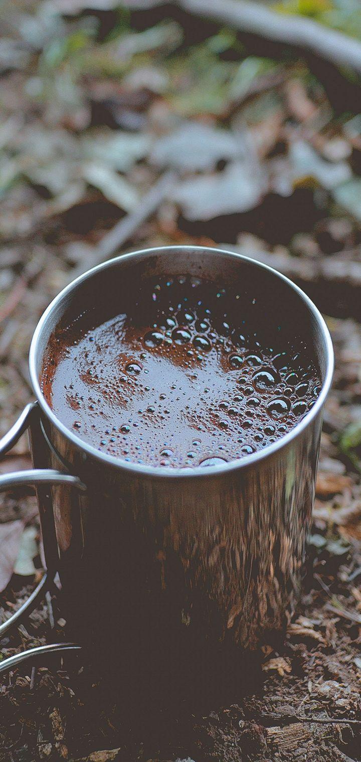 Coffee Mug Foam Foliage Wallpaper 720x1520