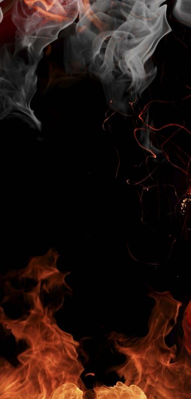 Fire Smoke Flowers Wallpaper 1080x2248 380x791