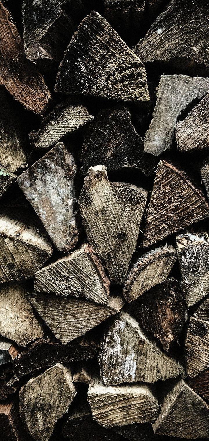 Firewood Texture Wooden Wallpaper 720x1520