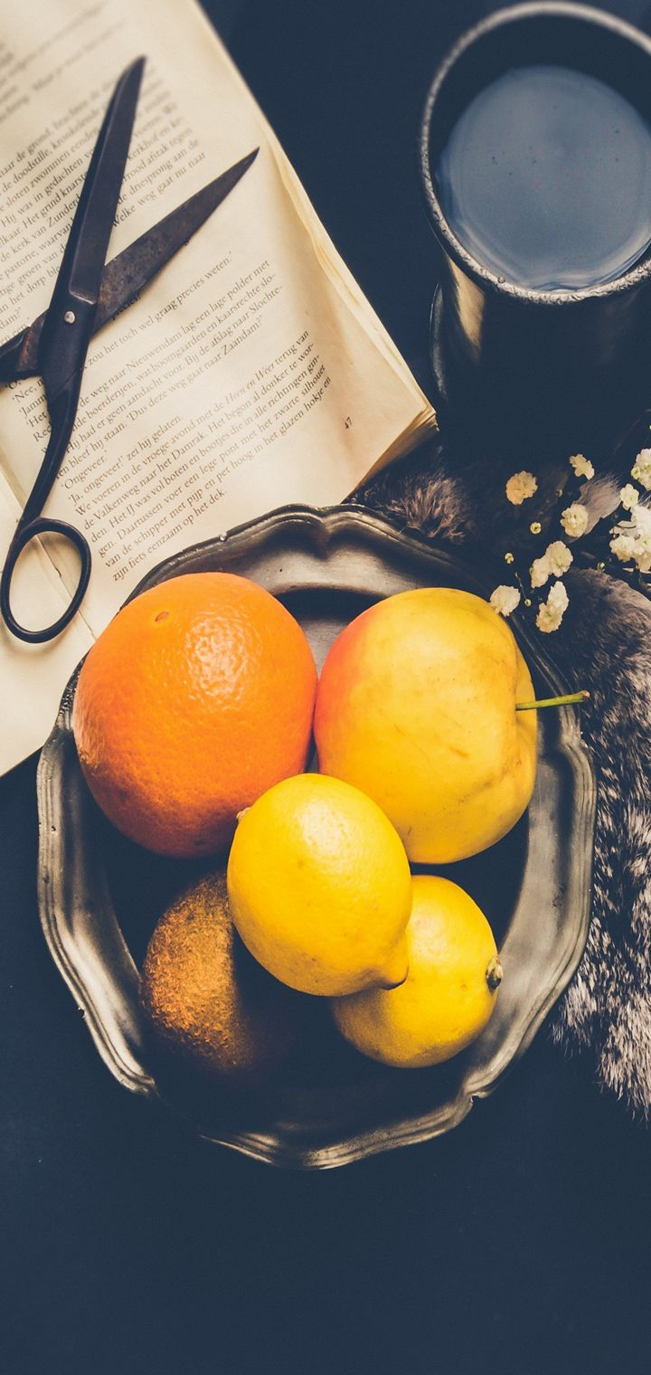 Fruit Book Scissors Mug Wallpaper 720x1520