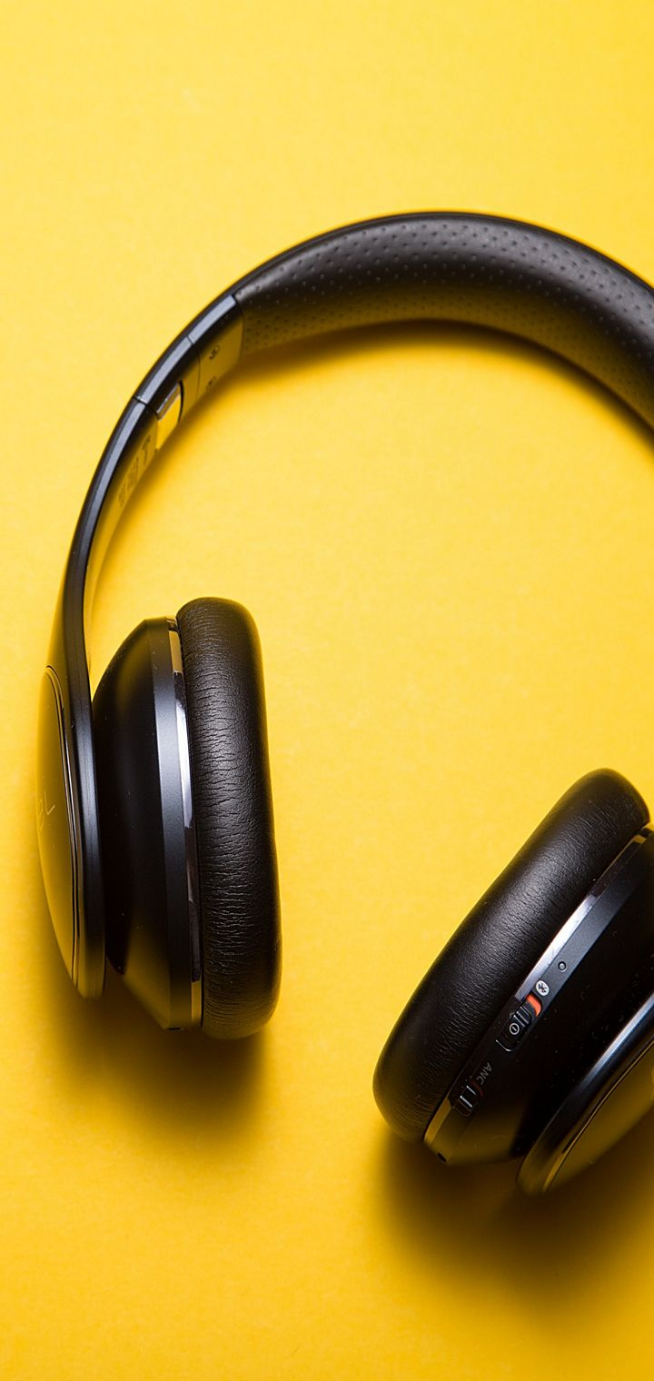 Headphones Yellow Background Music Wallpaper 720x1520