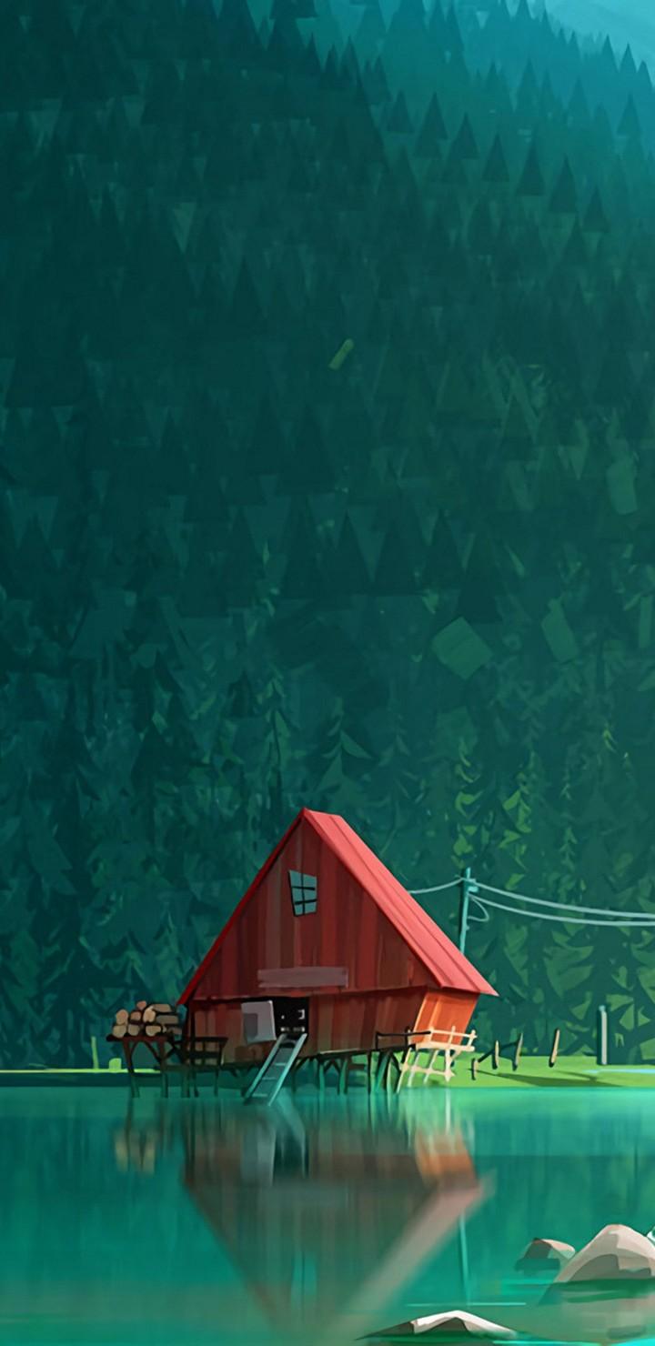 House In Woods Minimalism Artwork Kk Wallpaper