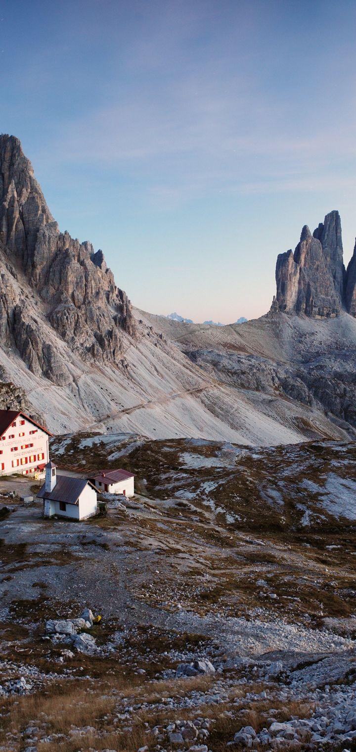 Italy Dolomite Alps Three Peaks Wallpaper 720x1520