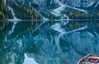 Lake Deck Boat Mountains Mirror Wallpaper 720x1520 340x220