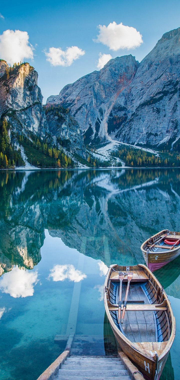 Lake Deck Boat Mountains Mirror Wallpaper 720x1520