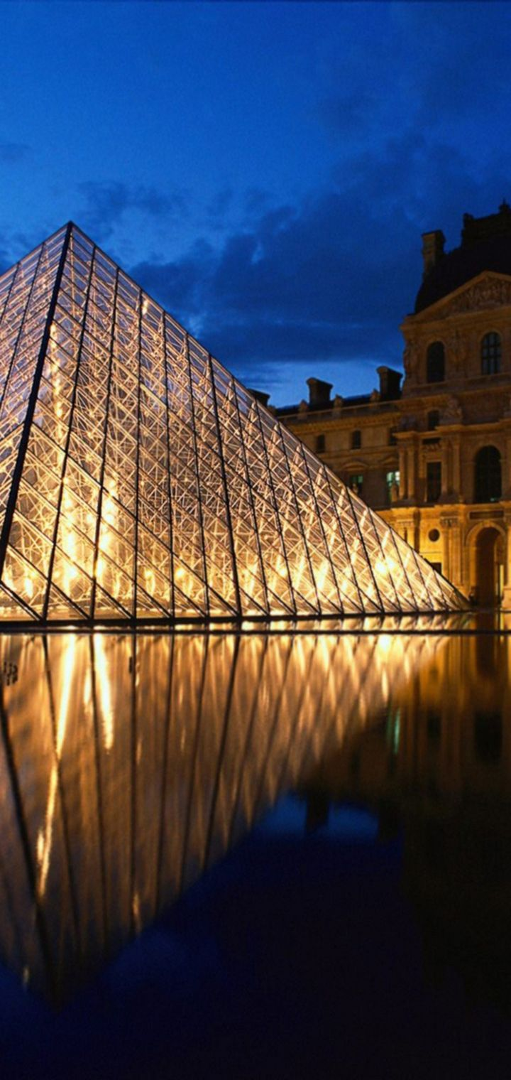 Louvre Pyramid Glass Paris France Wallpaper 720x1520